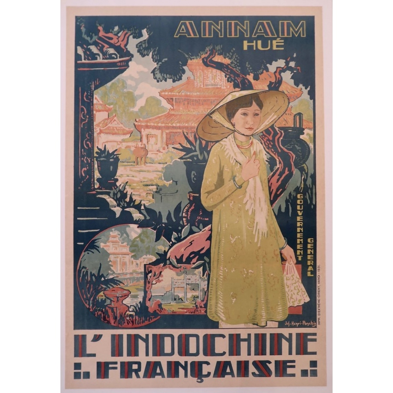 Affiche ancienne Annam Hué, l'Indochine française - Henri Ponchin - 1931 - 111 x 76 cm