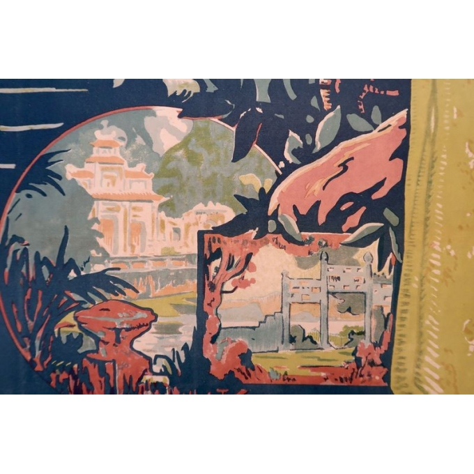 Affiche ancienne Annam Hué, l'Indochine française - Henri Ponchin - 1931 - 111 x 76 cm - Vue 2