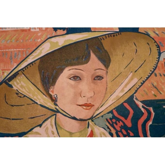 Affiche ancienne Annam Hué, l'Indochine française - Henri Ponchin - 1931 - 111 x 76 cm - Vue 4