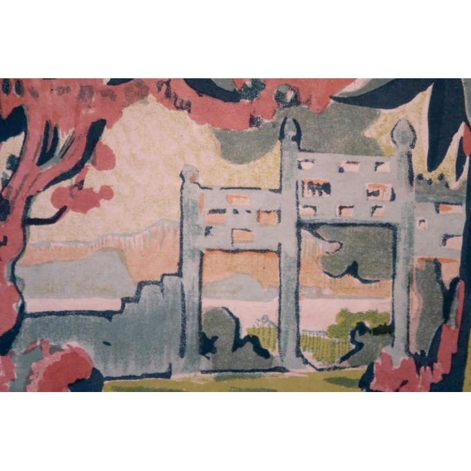 Affiche ancienne Annam Hué, l'Indochine française - Henri Ponchin - 1931 - 111 x 76 cm - Vue 6