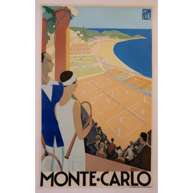 Vintage tourism poster - Roger Broders - 1930 - Monte-Carlo - 39.3 by 24.8 inches