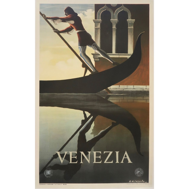 Vintage travel poster - Cassandre - 1951 - Venezia - 24 by 39.3 inches