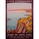 Vintage tourism poster by Constant Duval, Côte d'émeraude - 1920 - Printed by : Cornille & Serre Paris - 41 by 25.6 inches