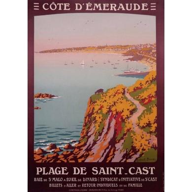 Affiche ancienne de tourisme - Constant Duval - Côte d'émeraude 1920 - Imprimée par Cornille & Serre Paris - 104 par 65 cm