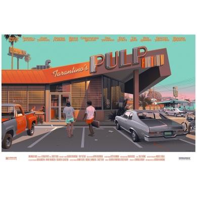 Affiche PULP FICTION par Laurent Durieux - Sérigraphie signée. Elbé paris.