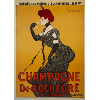 Vintage advertising poster - 1902 - Leonetto Cappiello - Champagne De Rochegré - 55.5 by 39.3 inches