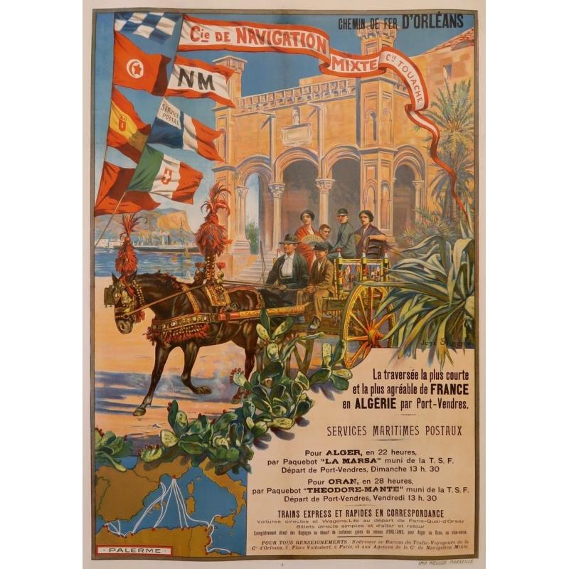 Original vintage poster - José Silbert - 1910 - Palerme - Moullot Marseille (France) - 42.5 by 30.3inches