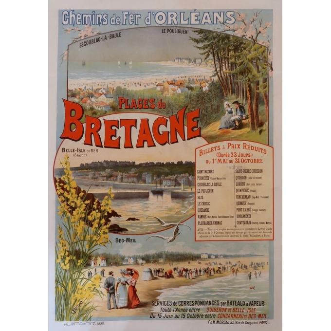 Affiche ancienne originale de Gustave Fraipont - 1896 - Plages de Bretagne - 75 par 104 cm