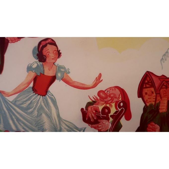 Affiche ancienne originale du film Blanche Neige et les sept nains de Walt Disney qui date de 1945 - Vue 2