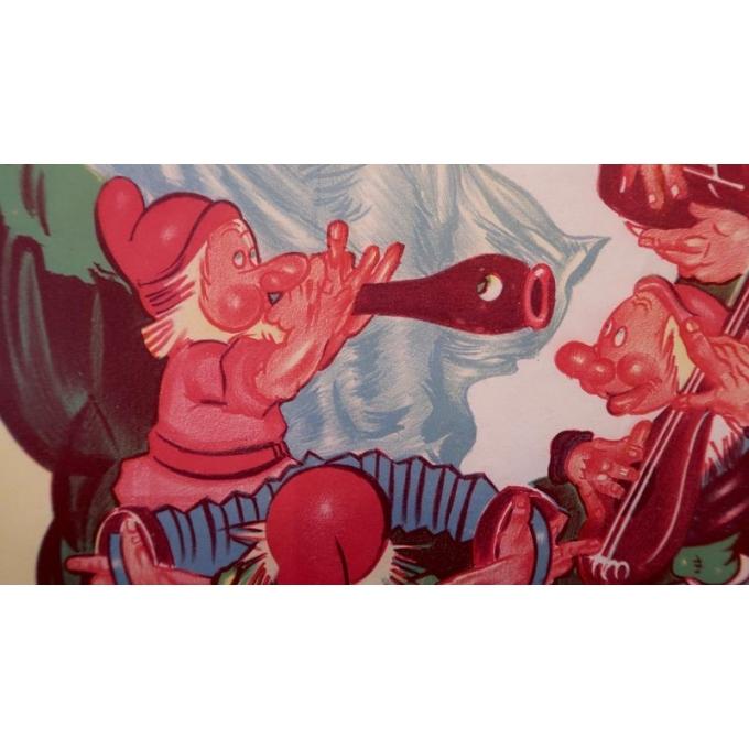 Affiche ancienne originale du film Blanche Neige et les sept nains de Walt Disney qui date de 1945 - Vue 4