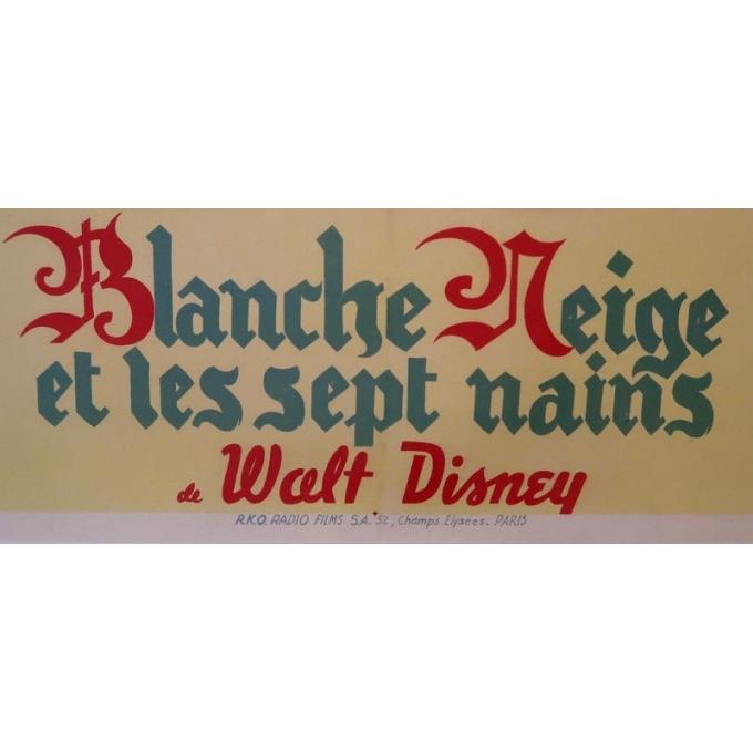 Affiche ancienne originale du film Blanche Neige et les sept nains de Walt Disney qui date de 1945 - Vue 5