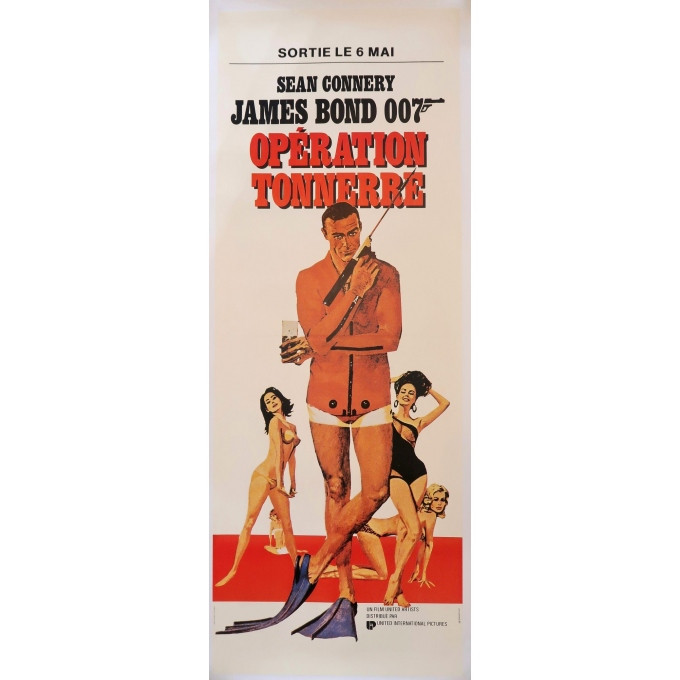 Vintage movie poster - James Bond Thunderball - 1965 - 59.8 by 22.4 inches