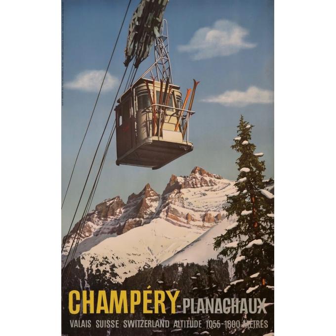 Affiche ancienne Champéry-Planachaux - René Klopfenstein - 1950 - 102 par 64 cm