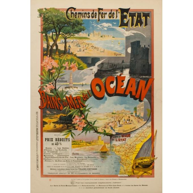 affiche ancienne de voyage par rails - F.G 1898 - Malemherbe - Chemins de Fer de l'Etat Bain de mer de l'océan - 120 par 82.5 cm