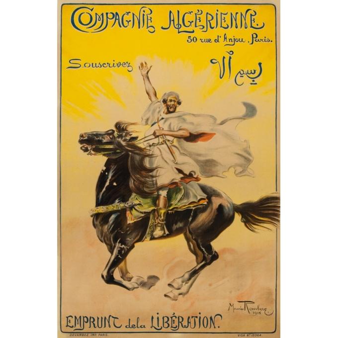 Affiche ancienne originale de publicité - 1918 - Maurice Romberg - Compagnie Algérienne - 118 par 77.5 cm