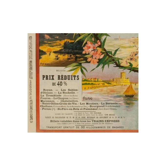 affiche ancienne de voyage rails - 1898 - Malemherbe - Chemins de Fer de l'Etat Bain de mer de l'océan - 120 par 82.5 cm - Vue 2