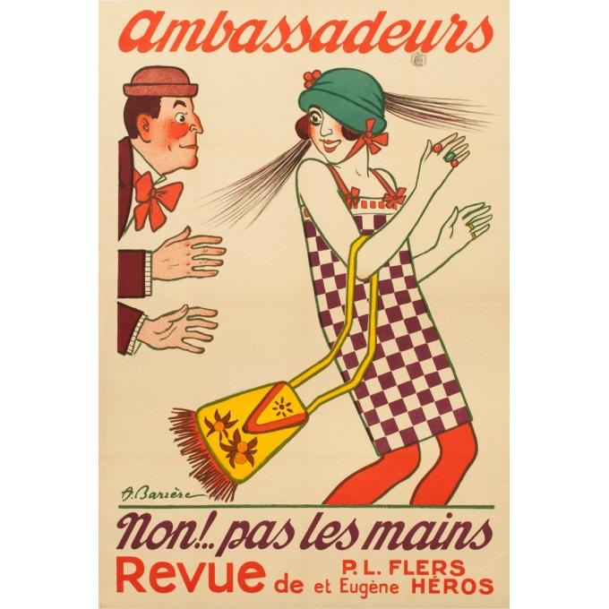 Affiche ancienne publicitaire - 1920 - Ambassadeurs - A.Barrère - 118 par 80 cm