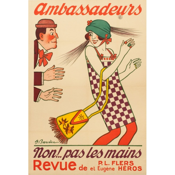 Vintage advertising poster - 1920 - Ambassadeurs - A.Barrère - 46.46 by 31.50 inches