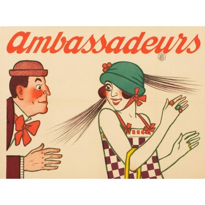 Affiche ancienne publicitaire - 1920 - Ambassadeurs - A.Barrère - 118 par 80 cm - Vue 4