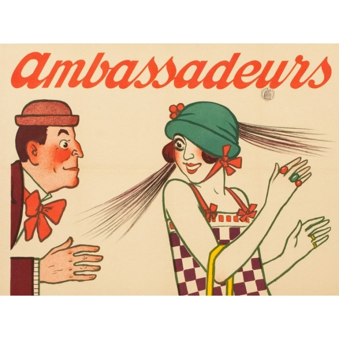 Vintage advertising poster - 1920 - Ambassadeurs - A.Barrère - 46.46 by 31.50 inches - View 4