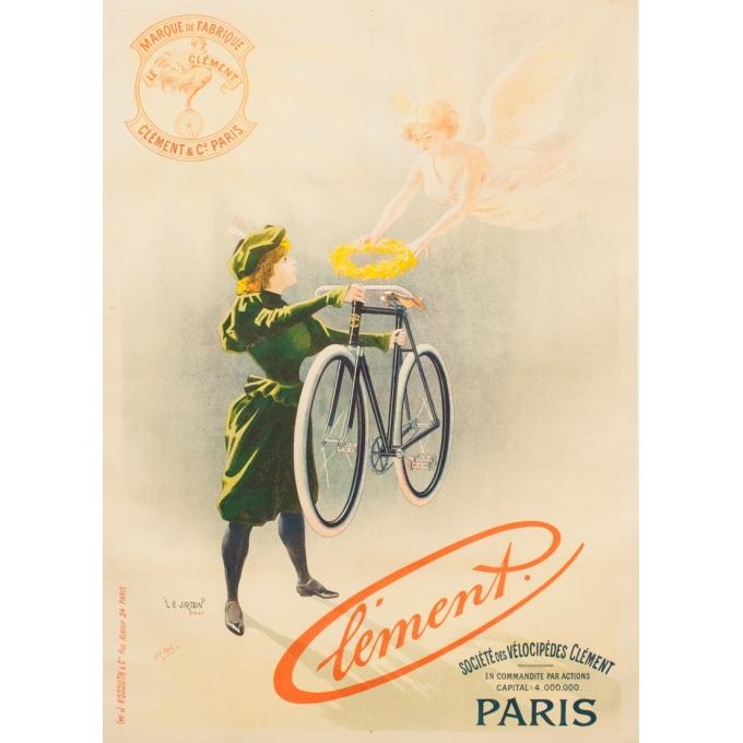 Affiche ancienne publicité - L.E Jardon - 1896 - Clément - 126 par 91 cm