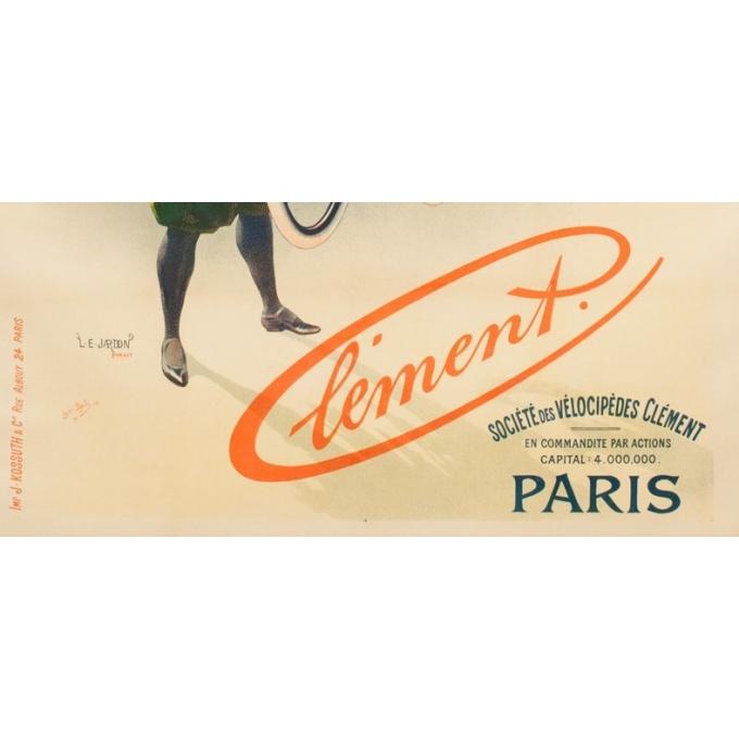 Affiche ancienne publicité - L.E Jardon - 1896 - Clément - 126 par 91 cm - vue 3