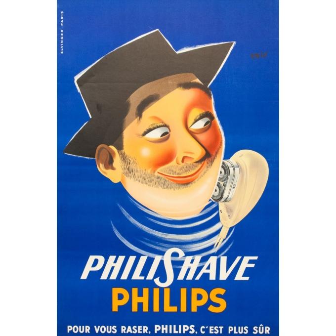 Affiche ancienne de publicité - Philips Philishave - 1955 - Eric - 116 par 77 cm