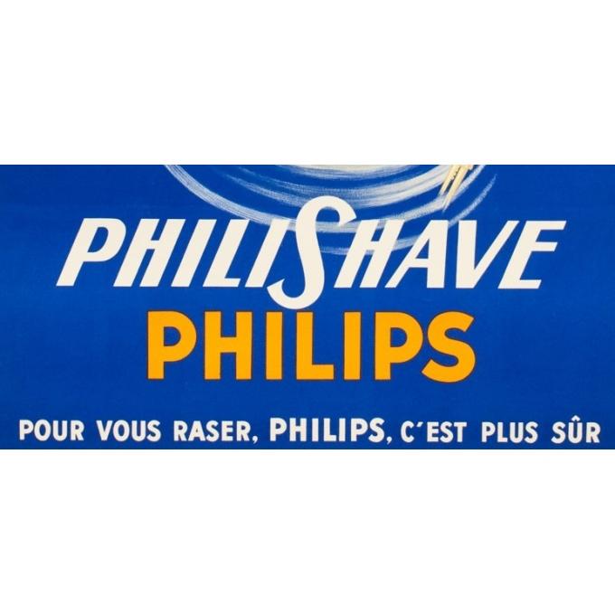 Affiche ancienne de publicité - Philips Philishave - 1955 - Eric - 116 par 77 cm - Vue 3