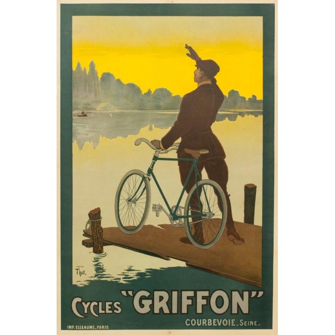 Affiche ancienne de publicité cycles Griffon - 1900 - Thor - 116.5 par 77 cm