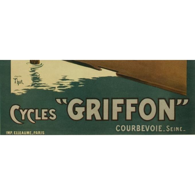 Affiche ancienne de publicité cycles Griffon - 1900 - Thor - 116.5 par 77 cm - Vue 3