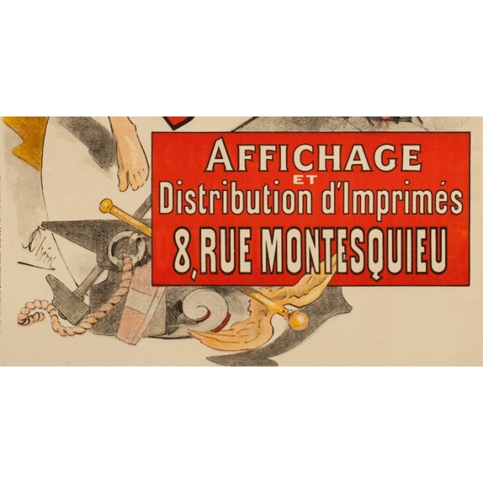 Vintage advertising poster - Jules Cherret - 1887 - Bonnard-Bidault - 48.43 by 34.45 inches - View 3