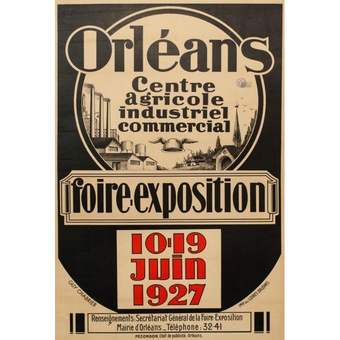 Affiche ancienne foire exposition Orléans 1927 - Guy Chabrier - 116 par 79 cm