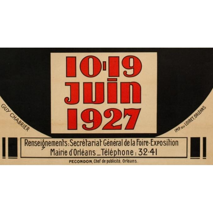 Affiche ancienne foire exposition Orléans 1927 - Guy Chabrier - 116 par 79 cm - Vue 3