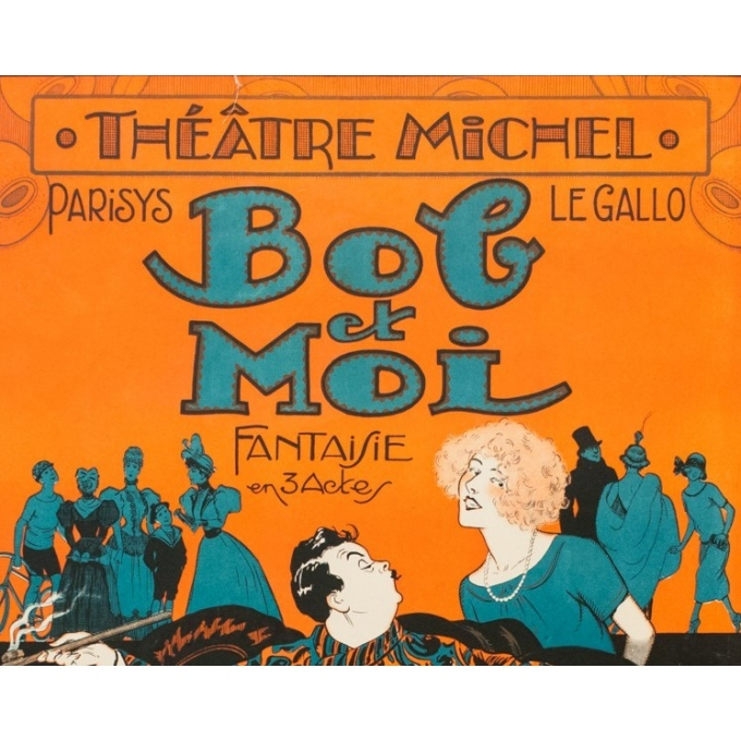 Vintage poster for the theater play - Bob et Moi - Clérice Frères 1924 - 46.85 by 30.91 inches - View 2