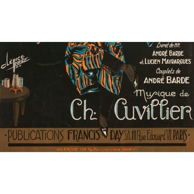 Affiche ancienne spectacle - Bob et Moi - Clérice Frères 1924 - 119 par 78.5 cm - vue 3