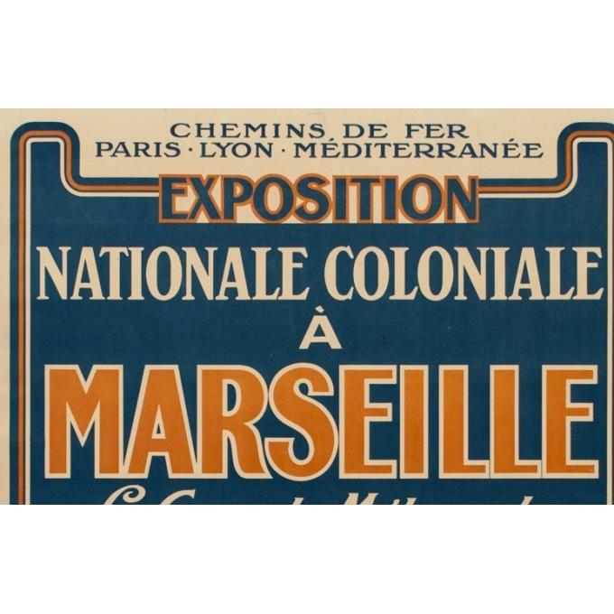 Affiche ancienne de l'exposition nationale coloniale à Marseille - 1922 - 107.5 par 76.7 cm - Vue 2