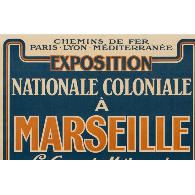"Vintage poster of the national colonial exhibition in Marseille - 1922 - 42.32 by 30.20"" - View 2"