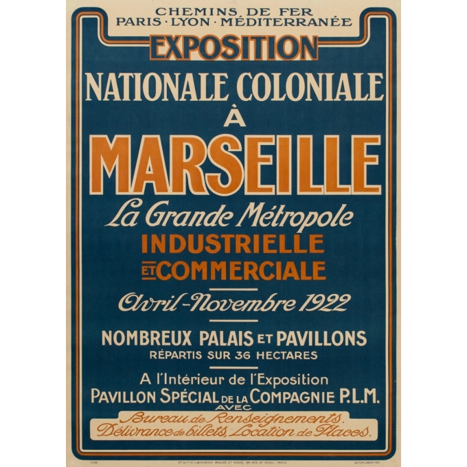 Affiche ancienne de l'exposition nationale coloniale à Marseille - 1922 - 107.5 par 76.7 cm