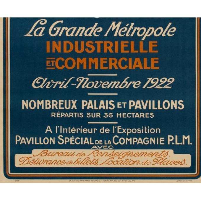 Affiche ancienne de l'exposition nationale coloniale à Marseille - 1922 - 107.5 par 76.7 cm - Vue 3