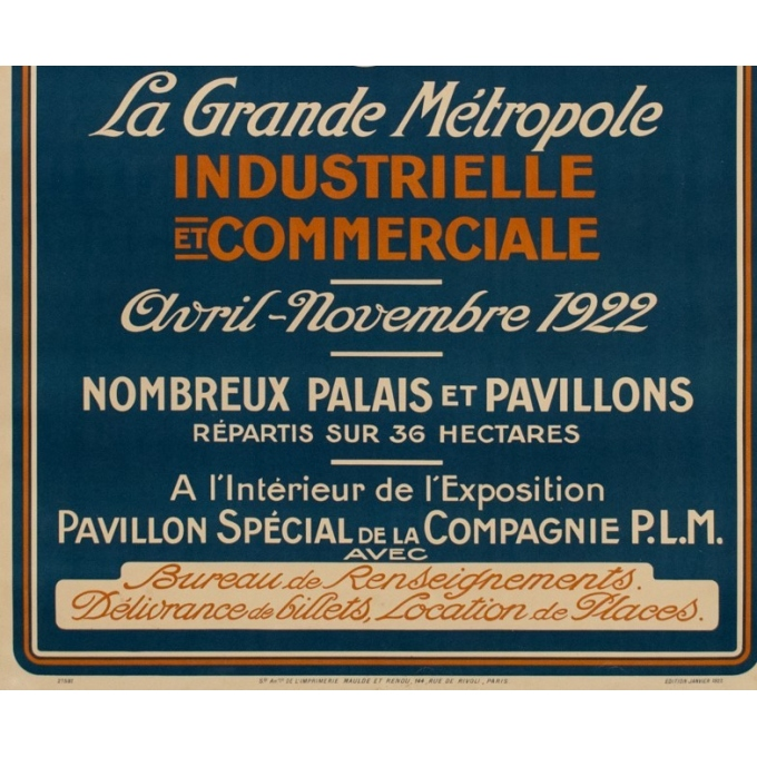 "Vintage poster of the national colonial exhibition in Marseille - 1922 - 42.32 by 30.20"" - View 3"