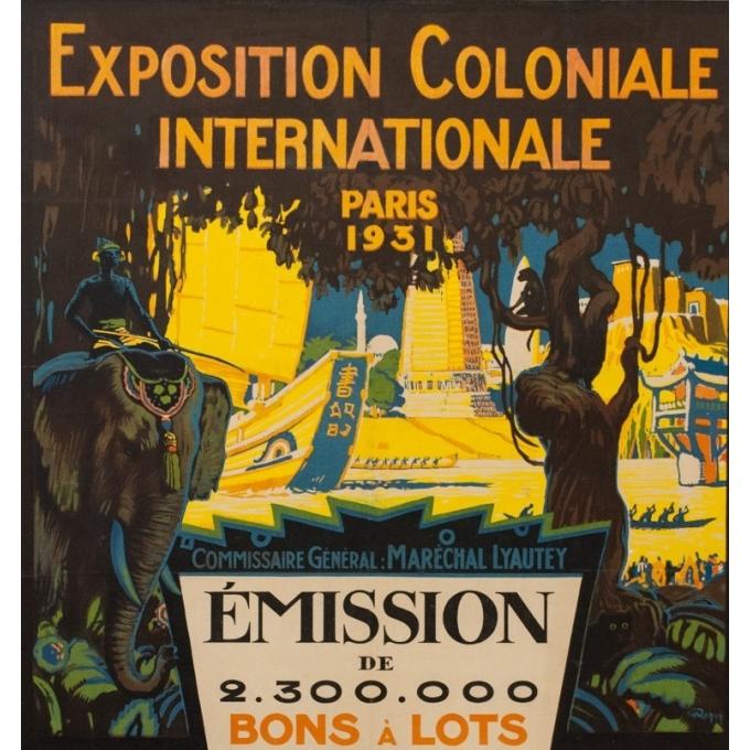 Affiche ancienne originale Exposition Coloniale Internationale Paris 1931 - O. Mapin - 117.5 par 77 cm - Vue 2