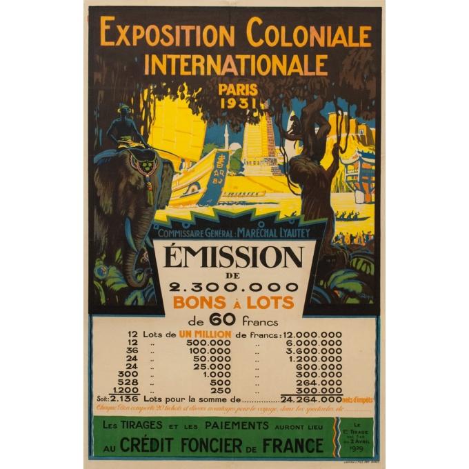 Affiche ancienne originale Exposition Coloniale Internationale Paris 1931 - O. Mapin - 117.5 par 77 cm
