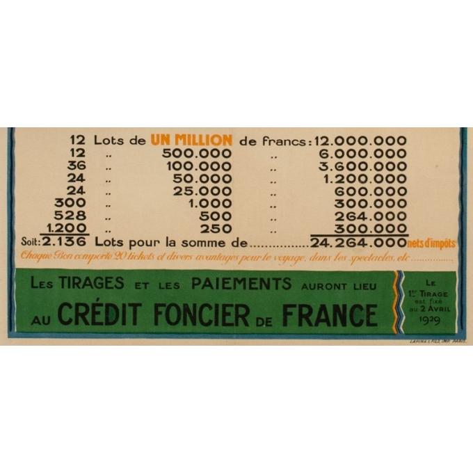 Affiche ancienne originale Exposition Coloniale Internationale Paris 1931 - O. Mapin - 117.5 par 77 cm - Vue 3