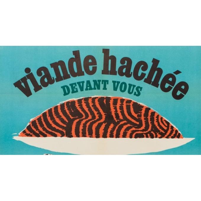 Affiche ancienne publicité - viande hachée - G.C Rousseau - 1955 - 113 x 79.5 cm - Vue 2