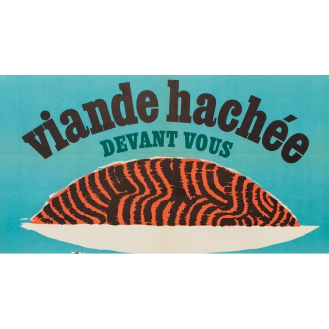Vintage advertising poster - viande hachée - G.C Rousseau - 1955 - 44.49 by 31.30 inches - View 2