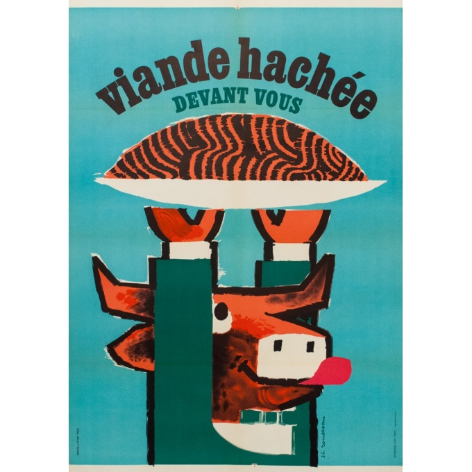 Vintage advertising poster - viande hachée - G.C Rousseau - 1955 - 44.49 by 31.30 inches