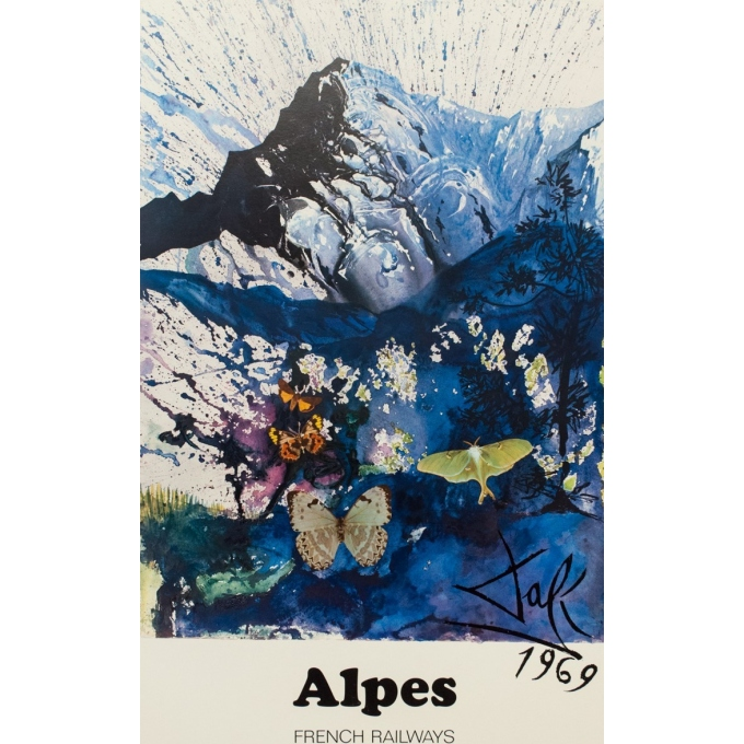 Vintage travel poster - Dali - 1970 - Alpes French Railways - 38.98 by 24.61 inches - View 2