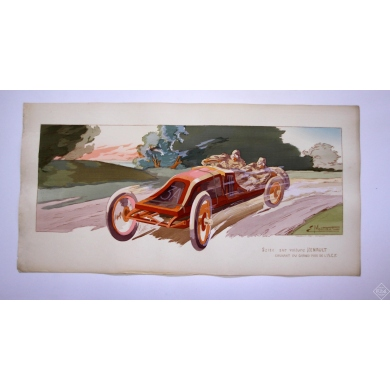 E.Montaut - Szisz- Grand Prix de l'A.C.F. 1906 - lithographie originale. Elbé Paris.