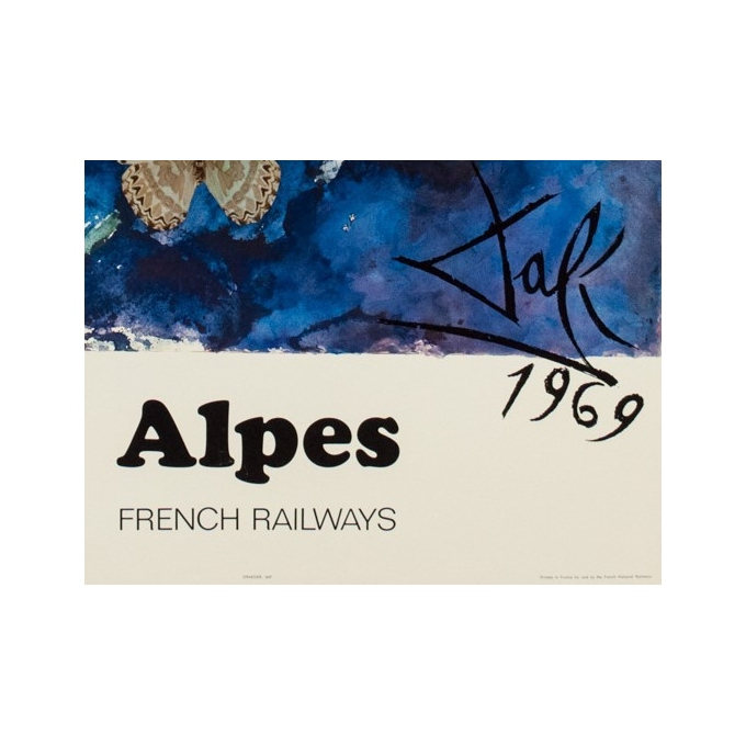 Vintage travel poster - Dali - 1970 - Alpes French Railways - 38.98 by 24.61 inches - View 3