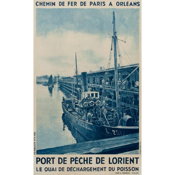 Affiche ancienne rail - Clichet Auclair-Melot - Port de pèche de Lorient - 98 - 61 cm